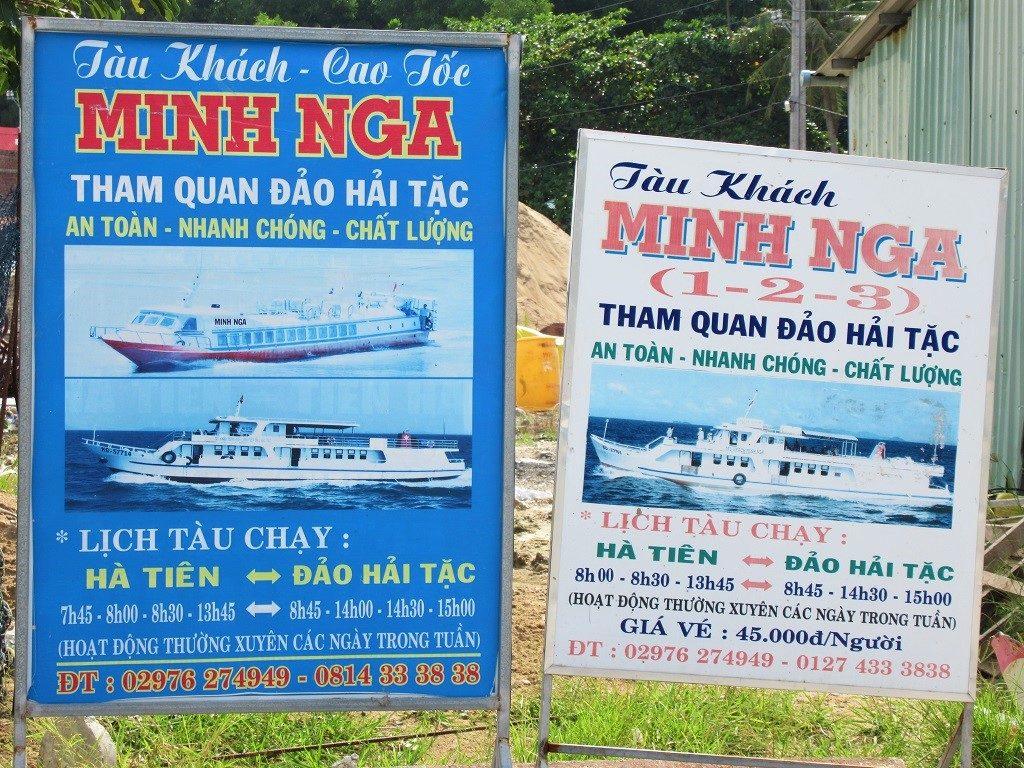 Sign for Minh Nga boats to Pirate Islands (Dao Hai Tac), Vietnam)