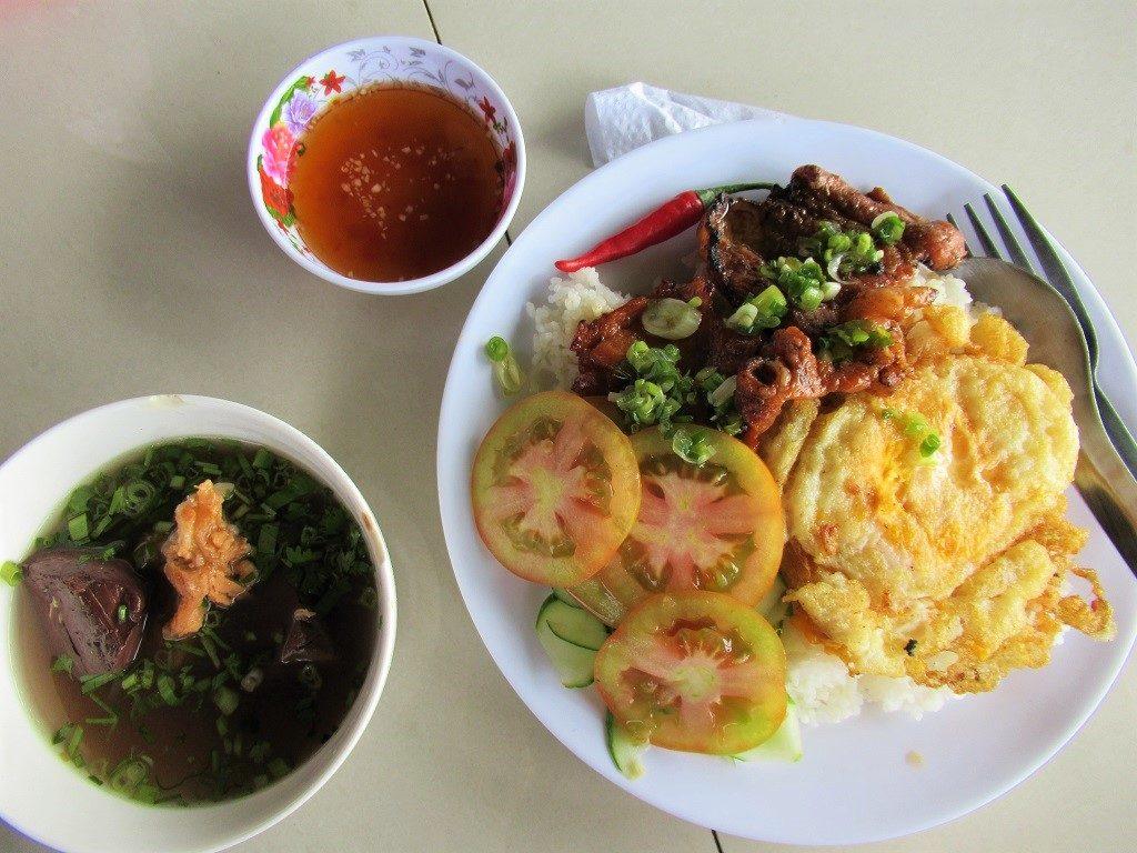 A typical rice lunch of pork & eggs, Pirate Island, Hai Tac Archipelago, Vietnam