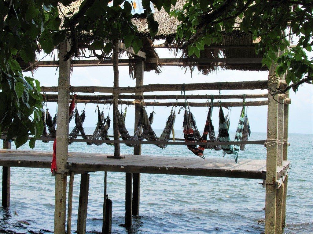 Beach hammocks at Huong Xua, Pirate Island, Hai Tac Archipelago, Vietnam