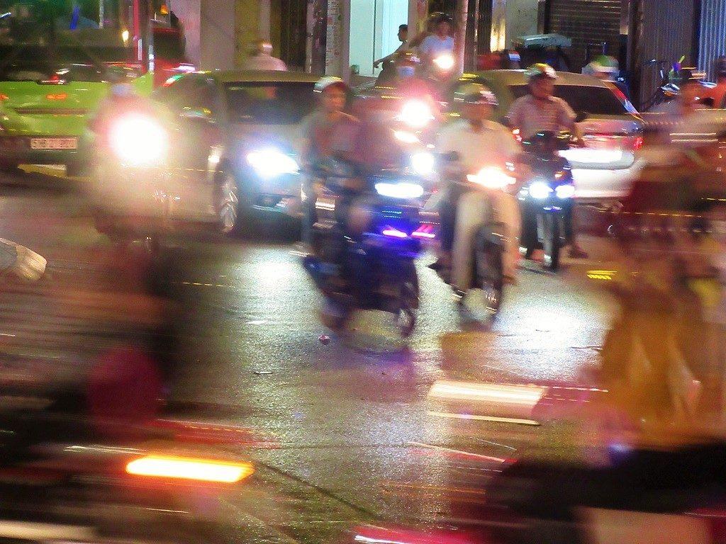 Frenetic streets & traffic at night, Saigon, Ho Chi Minh City, Vietnam