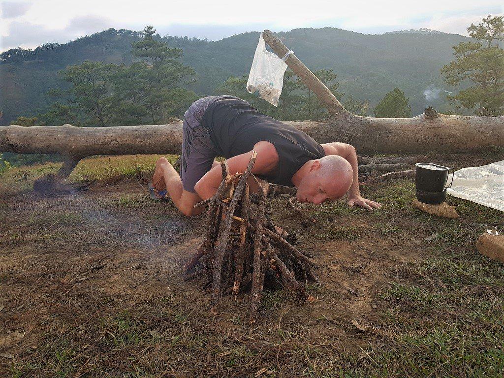Making a campfire, Dalat, Vietnam