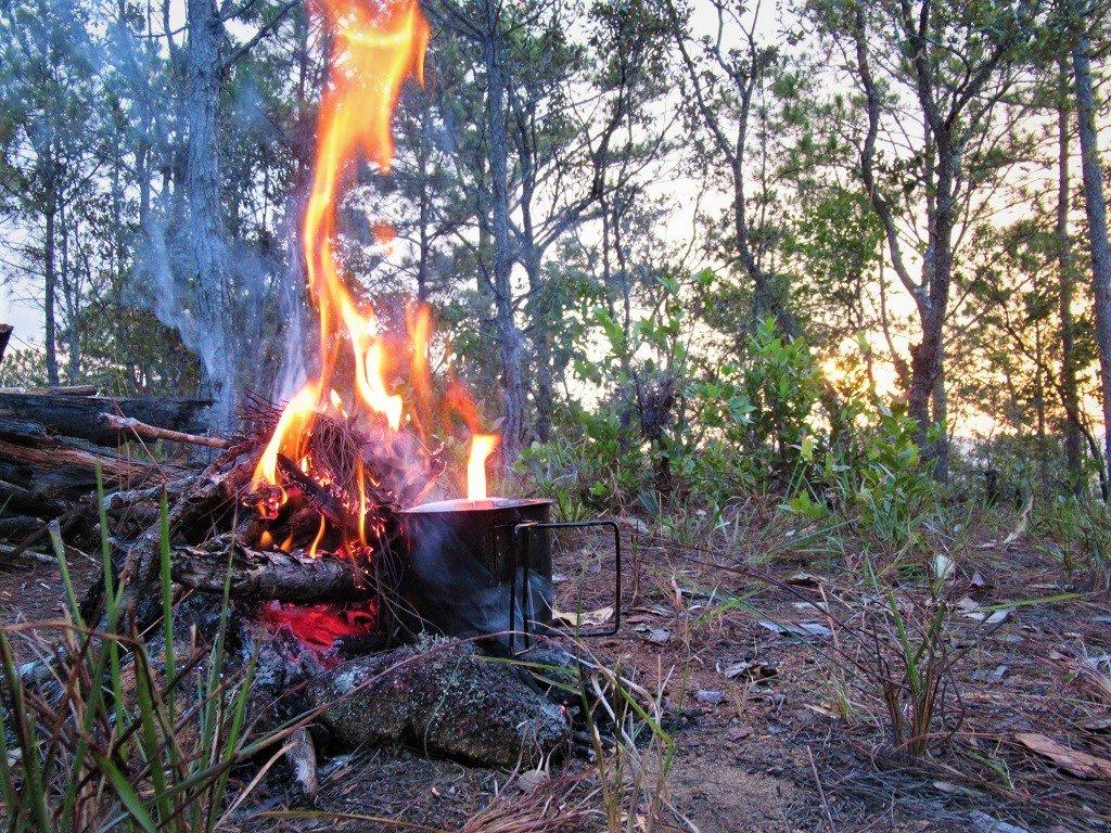 Camping stove on a campfire, Dalat, Vietnam