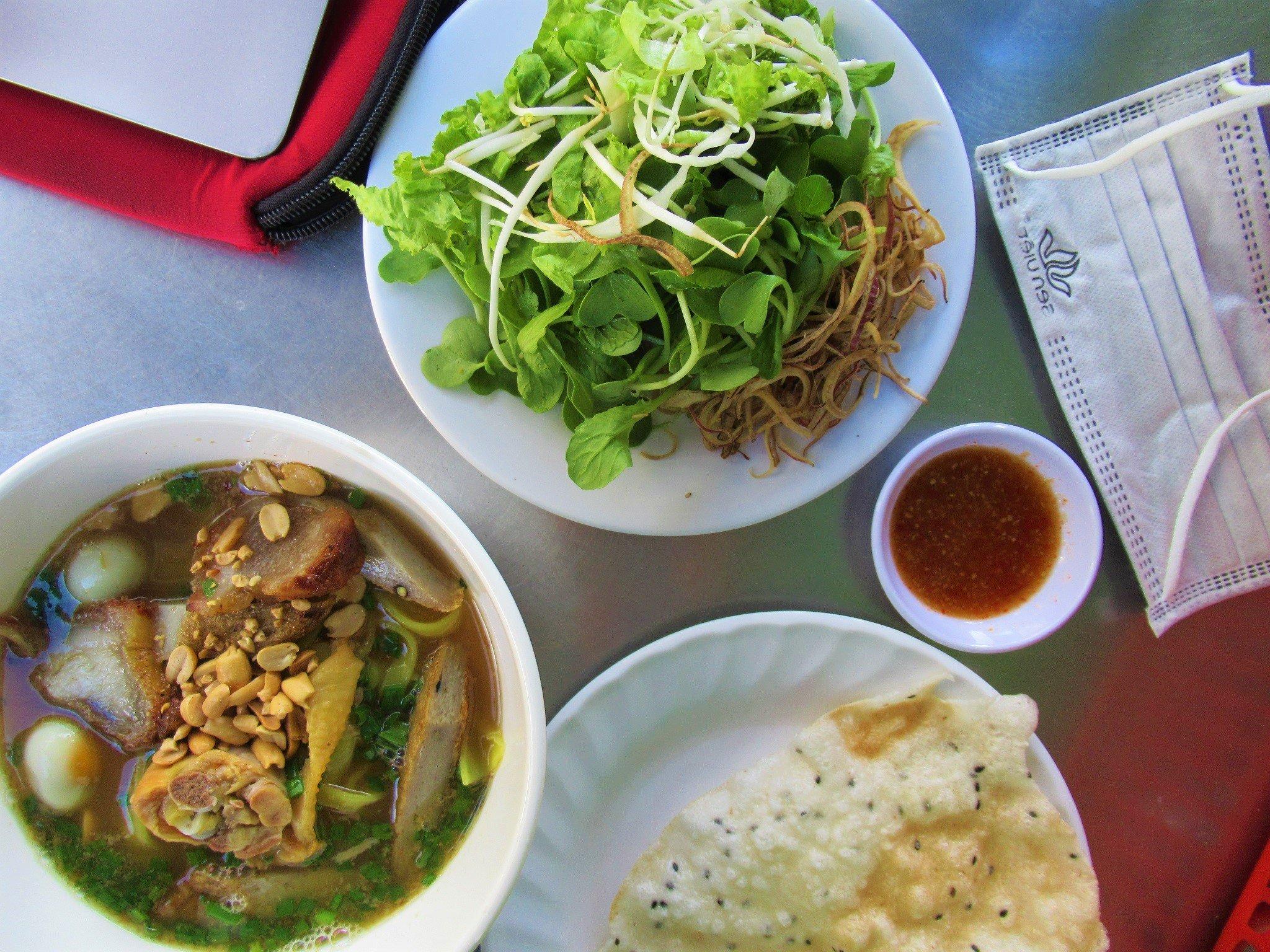 A bowl of Mì Quảng Gà noodles, Vietnam