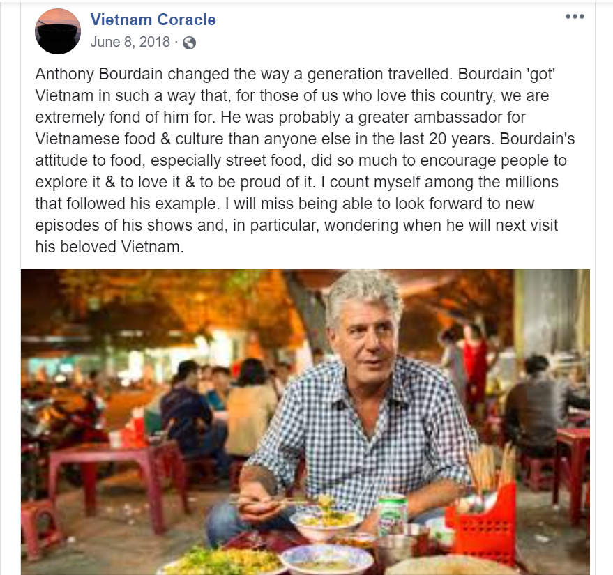 Facebook tribute to Anthony Bourdain upon hearing of his death