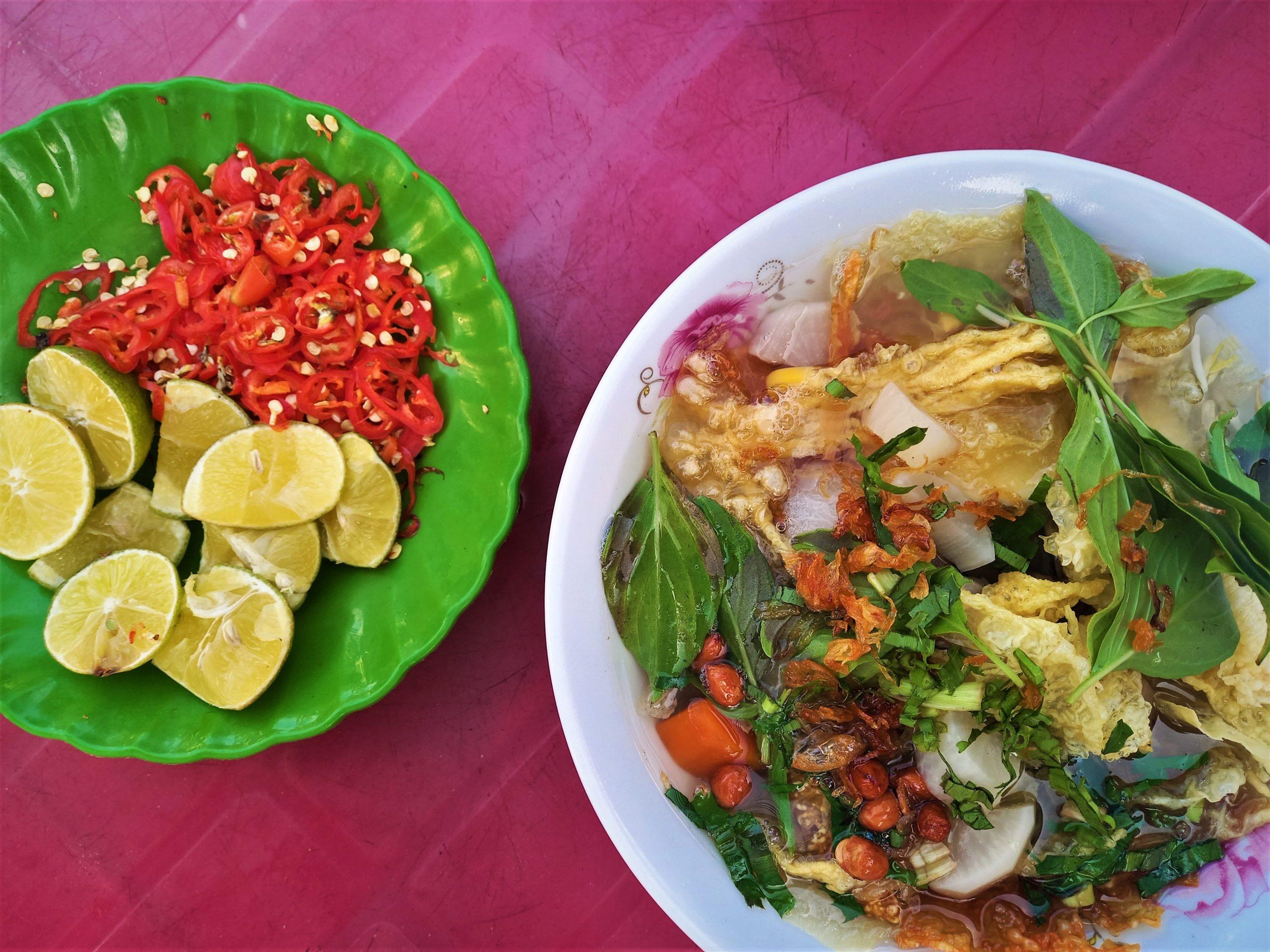 A bowl of vegetarian noodle soup, Tra Vinh Province, Mekong Delta, Vietnam