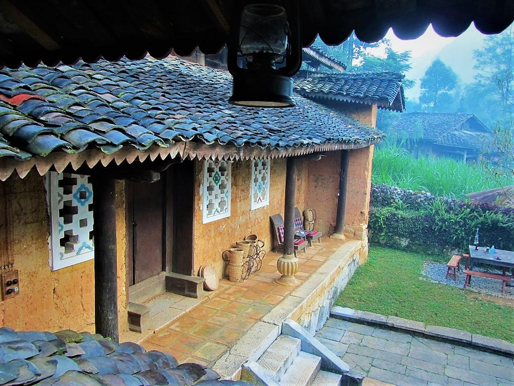 Old stone courtyard of Auberge de Meo Vac Mountain Lodge